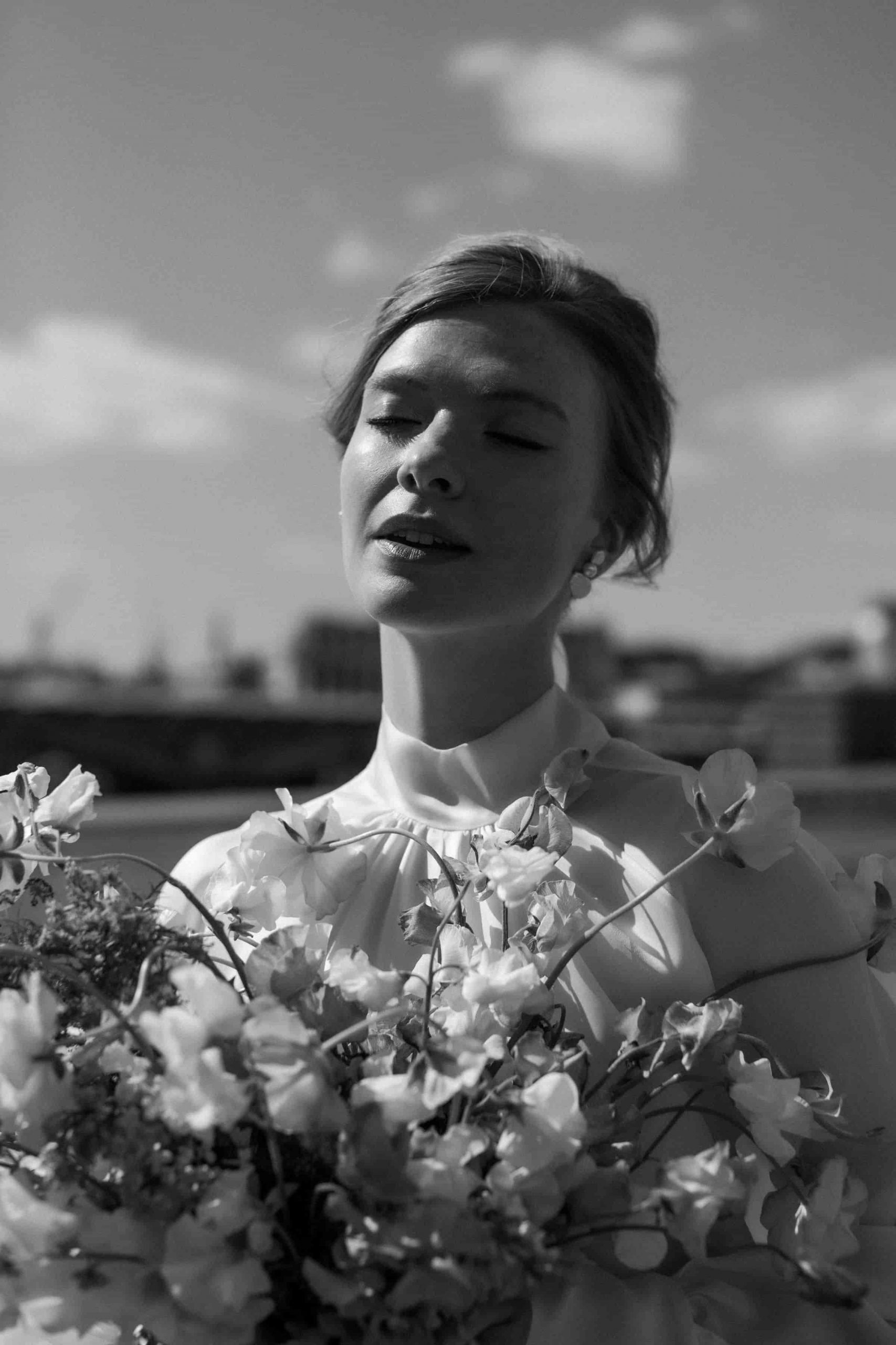 Harriette Gordon satin organza mini dress for a city elopement